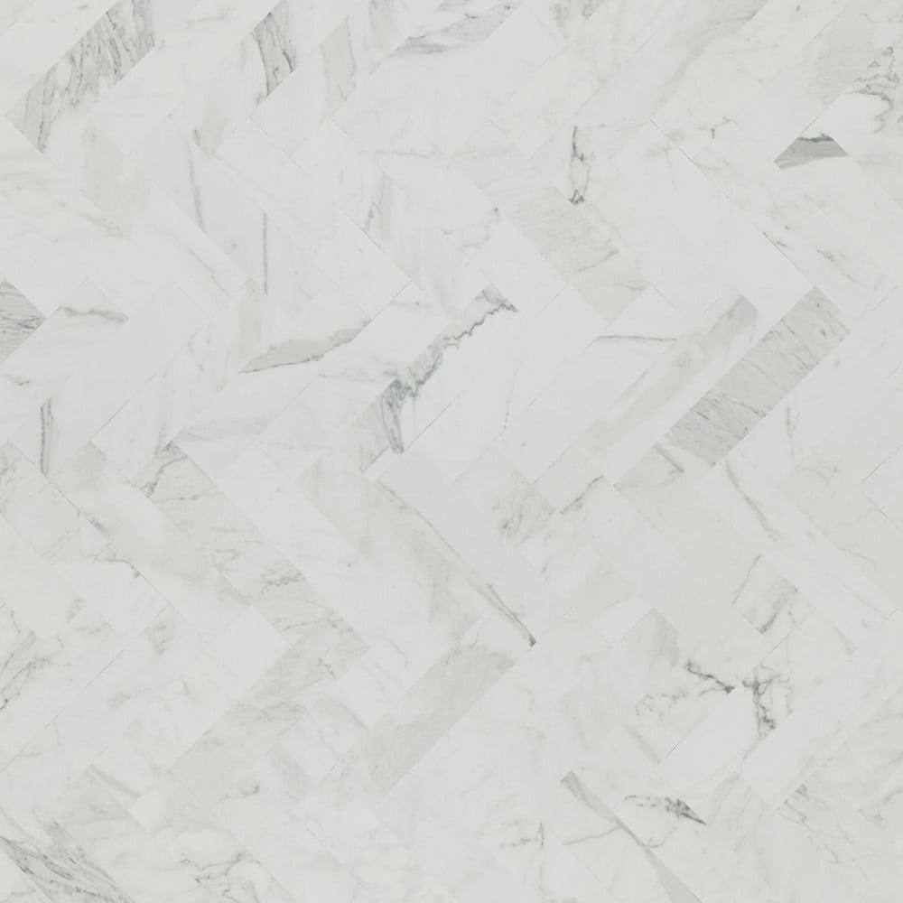 White Marble Herringbone Bevel Edge Backsplash Matte Finish