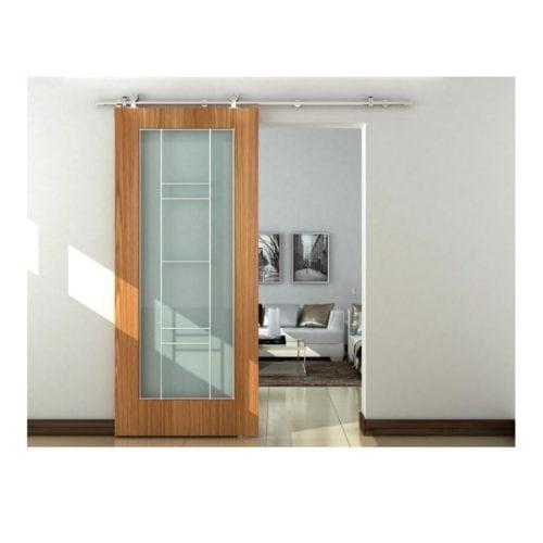 Image of industrial barn door hardware set for suspended wood door
