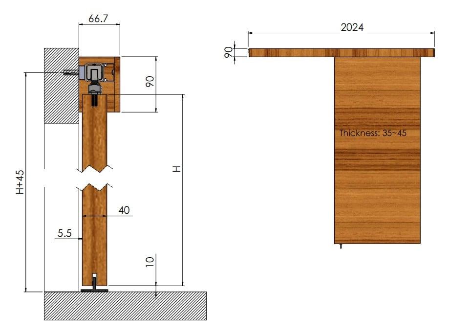 Line Art For Traditional Concealed Sliding Barn Door Hardware