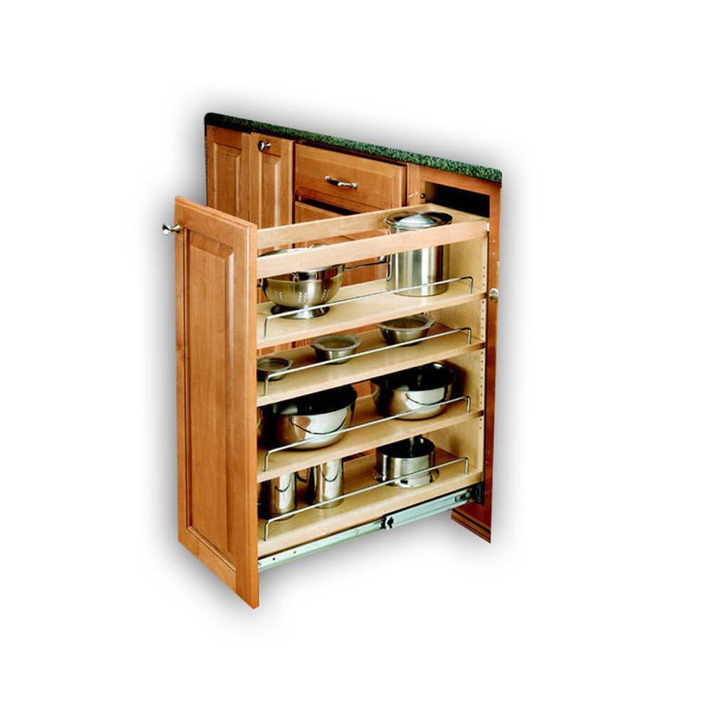 Rev a shelf 5in base cabinet organizer adjustable shelves for Adjustable shelves for kitchen cabinets
