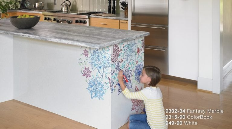 Colorbook laminate from Formica set off by Fantasy Marble countertop & White Gloss wall
