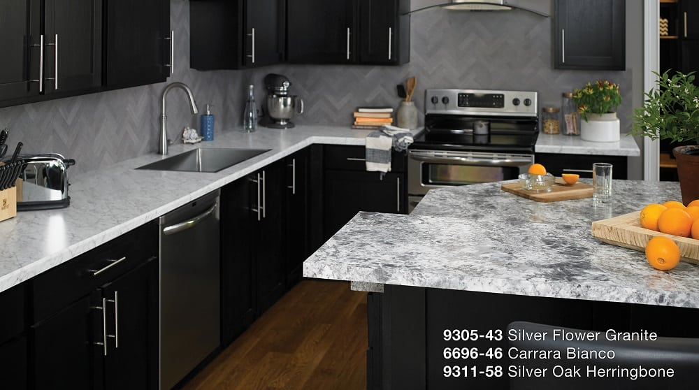 Silver Flower Granite, Carrara Bianco, Silver Oak Herringbone Formica  Laminate Kitchen
