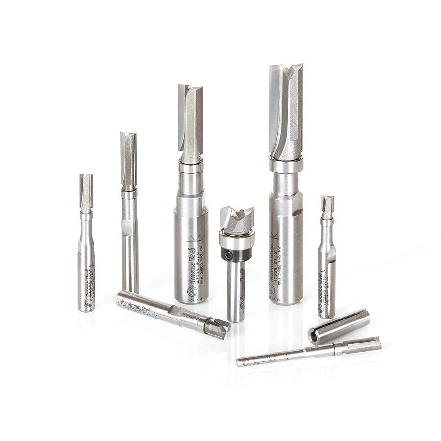 47224-S Miniature Flush Trim Plunge Template 1//4 Dia x 1//4 Shank Amana Tool