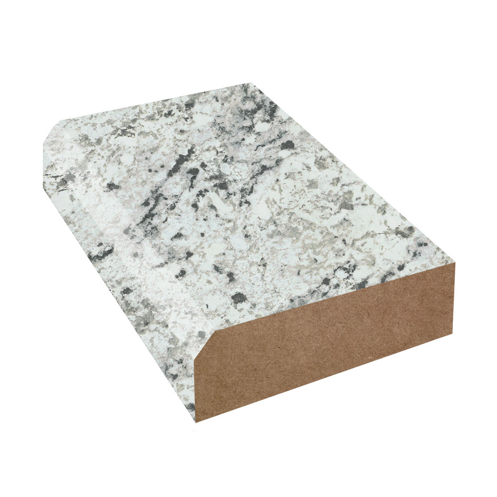White Ice Granite Bevel Edge Laminate Countertop Trim Etchings Finish