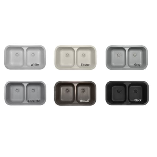 These are the 6 colors of Karran Quartz Sinks that come on the sample chain